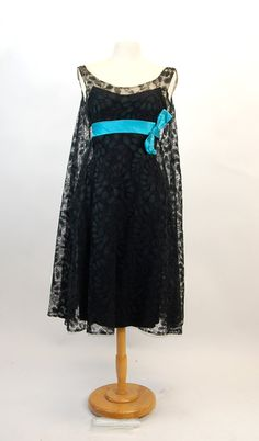 Vintage 1960s Black Lace Trapeze Dress w/Turquoise Satin Sash and Bow