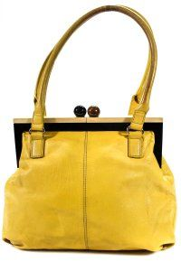 67011c0297b6e6 Kate Spade Chrome Hardware Mint Condition Size True Opening Satchel in  yellow leather with hard wood frame and kiss closure