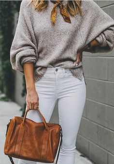 #winter #outfits gray knitted sweater, white denim fitted jeans, and brown leather 2-way tote bag outfit