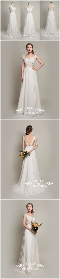 Beach Wedding Ideas - Exquisite Open Back Tulle and Lace Wedding Dress 2015 With Cap Sleeves - See more at: http://www.tulleandchantilly.com/custommade-exquisite-lace-tulle-open-back-wedding-dress-with-cap-sleeves-p-695.html