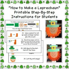 Printable Step-by-Step Instructions for Students to Follow for Leprechaun Craft