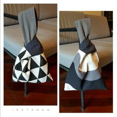 truebluemeandyou - truebluemeandyou B&W reversible knot bag Japanese Knot Bag, Japanese Bags, Origami Bag, Diy Sac, Potli Bags, Diy Bags Purses, Diy Tote Bag, Creation Couture, Patchwork Bags