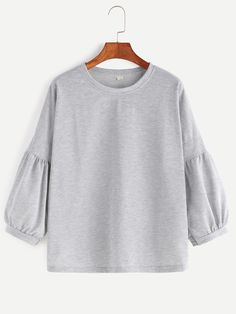 Grey Drop Shoulder Lantern Sleeve T-shirt — 0.00 € --------------color: Grey size: one-size