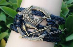 mockingJay pin bracelet,creative bracelets,games bracelet,unique charm jewelry,leather bracelet, black braid,hunger bracelet,favorite gifts