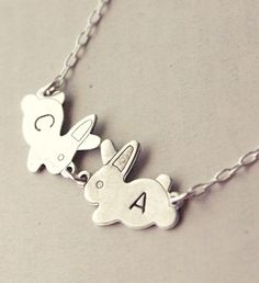Love Bunnies Initials Necklace #personalized #custom #name