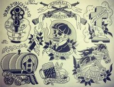 Peaky Blinders Tattoo Flash Tattoo Sketches, Tattoo Drawings, Body Art Tattoos, Small Tattoos, Sleeve Tattoos, Tatuagem Old Scholl, Peaky Blinders Wallpaper, Traditional Tattoo Flash, Tattoo Ideas