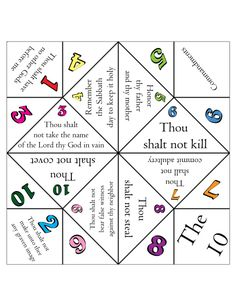 Free 10 commandments foldable. LDS primary lesson helps, primary 6, kids activity