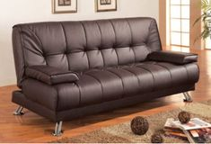 Brown futon sofa that folds down for easy and comfortable use of a bed with easily removable arm rests. Dimensions: Futon Sofa 77 x 36 x Futon Sofa Bed 77 x 47 x