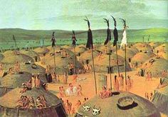 """Catlin Mandan VillageMandan villages usually had an open plaza near the center. The plaza was roughly 160 feet long and 90 feet wide. In the center of the plaza was a shrine-Mni-mih-douxx (""""Water Middle Mark"""")-which commemorated Lone Man's act of saving his people during the great flood."""
