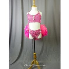Hot Pink Mesh Connected 2 Piece with Feather Bustle - Swarovski Rhinestones - Size YL