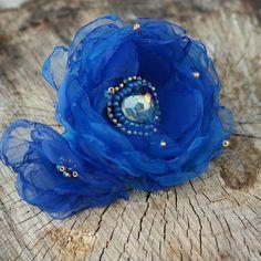 royal blue hair barette floral hair barette embroidered hair barette blue hair clip royal blue hair piece royal blue hair jewelry gift