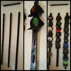Homemade Hat Rack (holds 30 Hats) made with clothes pins!