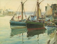 James Milton Sessions (1882–1962)  Morning, Gloucester Harbor, ca. 1950  Watercolor on paper, 13 1/2 x 17 1/2 inches  Signed lower left: Sessions  http://www.spanierman.com/collection/archive/10001/widescr_sessions970081f.jpg