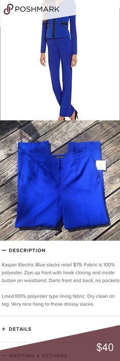 NWT Kasper Cobalt Blue Pleated Trousers Item specifications are in the pictures of the listing. Fantastic shade of blue that is perfect for adding some spring and summer colors into your work wardrobe. Kasper Pants Trousers
