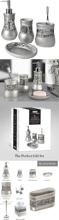 Bath Accessory Sets 176990 Creative Scents Brushed Nickel Inspiration Brushed Nickel Bathroom Accessories Decorating Inspiration