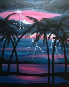 Lightening on the beach with sunset and palm trees