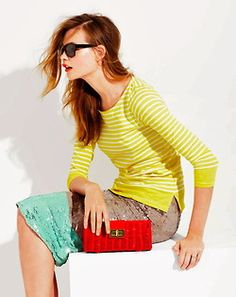 J Crewing lemon stripes paired with neutral and poppy & aqua accents. J Crew Outfits, Preppy Style, My Style, New Fashion, Fashion Outfits, Boat Neck Tops, J Crew Style, Fashion Plates, High Street Fashion