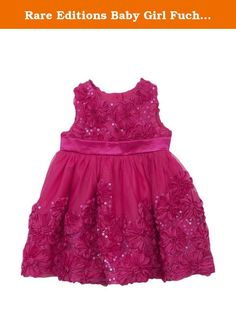 Rare Editions Baby Girl Fuchsia Sequin Soutache Special Occasion Dress (3m-12m) (6-9 months). Two piece special occasion or flower girl dress.