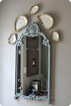 Chalk paint mirror in Annie Sloan's duck egg blue from Dixie Delights