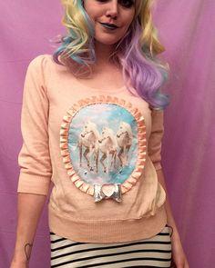 Peach Unicorn Trio Applique Pull Over Sweater by imyourpresent