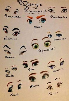 Look closely at how the eyebrows give personality and emotion to our Disney royalty.