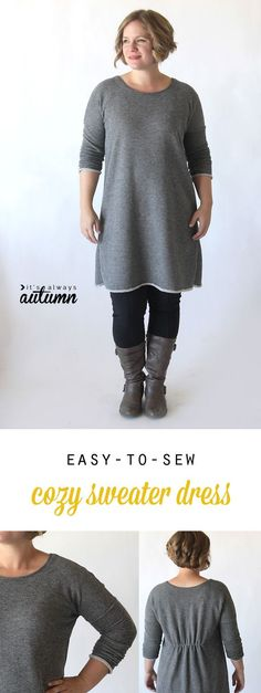 Learn how to sew this cute, easy to make DIY sweater dress or tunic with a free printable pattern and sewing tutorial.:
