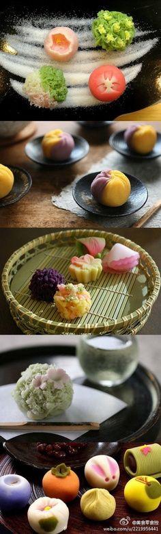 luuuuuuvvvvvv these Japanese desserts. Japanese Deserts, Japanese Sweets, Japanese Food, Delicious Desserts, Dessert Recipes, Yummy Food, Japanese Wagashi, Thai Dessert, Cute Food