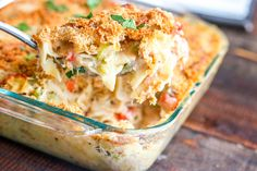 This old time classic tuna noodle casserole will bring you right back to childhood. Budget friendly and easy to double for a crowd!  Most people I know grew up on this as a staple in their homes. Their Mom would whip it up and the whole family would grab a plate, and sit down to dinner together. I love the kind of dinner that you can get cooking, and then use the time it's in the oven to do something else, like drink wine, um..read stories with the kids, ride bikes outside or fold a load ...