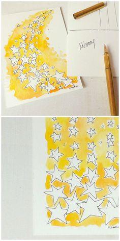 Stars - handpainted Christmas postcards