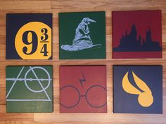 Set of 6 minimalist Harry Potter inspired hand painted acrylic on 12x12 wrapped canvases. 6 paintings contain the Hogwarts Silhouette, Golden Snitch, HP Glasses, Deathly Hollows, Sorting Hat and Platform 9 3/4 Per individual Requests: Can be made to order in smaller sets with different HP elements, painted in different colors, or on 12x12 or 10x10 canvases.
