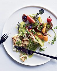 Grilled #Halibut with Herb Pistou and Walnut Butter Recipe on Food & Wine