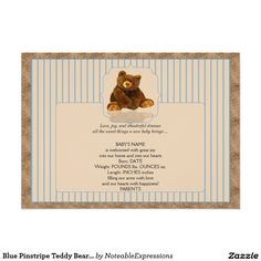 Blue Pinstripe Teddy Bear Baby Announcement