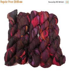SALE New! Recycled Sari Silk Ribbon, 100g skeins, Blackberry