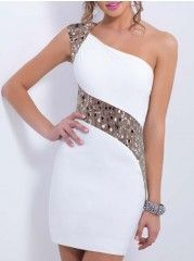ce8c41af3f6c3f Glamorous One Shoulder Beading Embroidery Party-dress Witte Pailletten Jurk