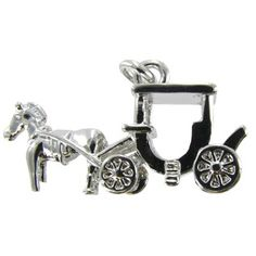 "Life is a fairytale, and you're Cinderella! Use this adorable Antique Silver Horse & Carriage Charm to add a whimsical touch to your jewelry project.    	This cute charm features an antique silver finish and intricate details. Create an ethereal accessory with this gorgeous charm!    	     	Dimensions:    	  		Length: 5/8""  	  		Width: 1 1/8"""