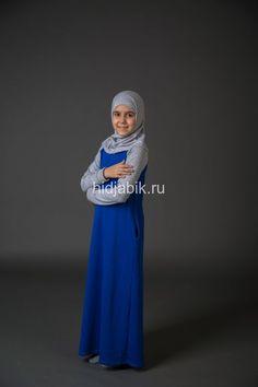 Мусульманское платье для девочки Серый/Электрик