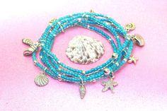 aqua starfish beaded stacking bracelet set beach by PYKNIC2