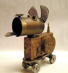 Steampunk Assemblage Dog on Roller Skate Rover by mixedmediamax, $62.00