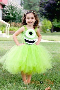 Mike Wazowski Inspired Tutu Dress Costume by FrostingShop on Etsy Tutu Costumes Kids, Trio Costumes, Kids Tutu, Cute Costumes, Disney Costumes, Halloween Costumes For Kids, Halloween 2019, Costume Ideas, Pixar Costume