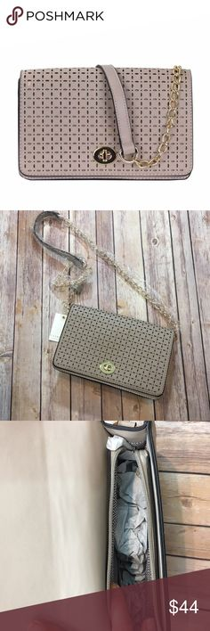 """‼️CLEARANCE‼️Laser Cut Stone Bag/ Clutch Folds And Held In Place With Twist Lock And Top Zipper Open Closure Textured Faux (Imitation) Leather Inside lining with open/zip pockets 10 (W) x 3 (D) x 6.5 (H) inches. 17"""" removable chain Bchic Bags"""