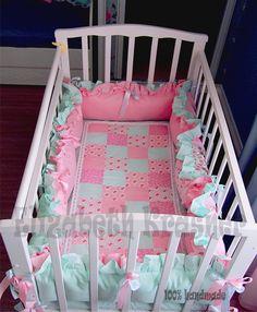 Купить Бортики в детскую кроватку - мятный, розовый, бортики в кроватку, бортики, интерьер детской