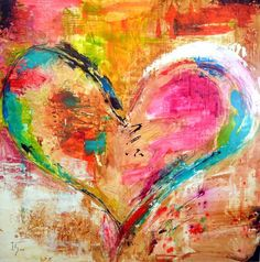 pink and blue heart painting