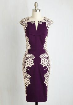 Lakeside Libations Dress in Grape - Purple, Tan / Cream, Solid, Cocktail, Sheath, Short Sleeves, Woven, Lace, Better