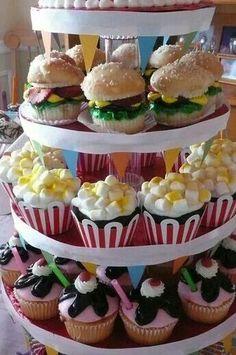 Cute 60s party idea. These are popcorn, hamburger, and milkshake cupcakes.
