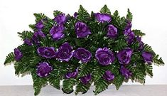 XL Purple Roses Artificial Silk Flower Cemetery Tombstone Grave Saddle Crazyboutdeco Cemetery Flowers