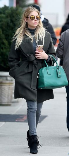 Ashley Benson leaving her NYC apartment in the Babaton Sian Coat and Babaton Johannes sweater, available at Aritzia.