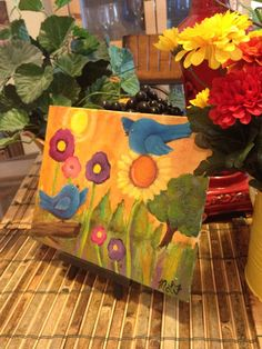 I want happy bluebirds in the sunshine original by giftsofcreation, $20.00 CLICK IT NOW!!