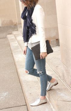 ripped skinnys, metallic flats, white blazer, comfy button down, lightweight scarf