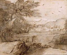 ClaudeLe Lorrain (Fr. 1600-1682),Paysage,lavis, plume, 16,3 x 11,9cm,Chantilly, musée Condé