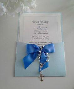 Baptism/Communion pocket invitation with satin bow and rosary beads. http://www.ebay.com/itm/171364516642?ssPageName=STRK:MESELX:IT&_trksid=p3984.m1555.l2649